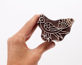 50% off Hand carved wood stamp bird 234