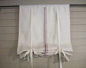 CUSTOM Order for JODI  White Burlap Tie Up Shade with Painted Stripes Rustic Curtain Modern Farmhouse Minimalist Simplicity Plain Window