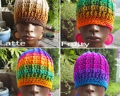 Divine Ombre Crochet Beanie Hat and Earrings