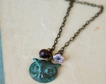 ON SALE Brass owl charm necklace horn and glass beads woodland autumn fashion verdigris patina - The Wise One