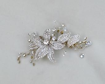 Bridal Swarovski Crystal Hair Clip With Flowers / One Of A Kind Hair Clip / Austrian Crystal Hair Clip