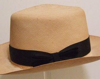 "22 1/2"" - Vintage 1930's Sak's Company New York Ecuadorian Panama Men's Hat"