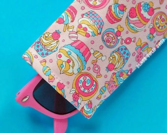 Kawaii Pink Sunglasses Case Eyeglass Pouch Sleeve Cakes Candies Lightweight Reading Glasses Cover Cute Pastel Soft Eyeglass Case