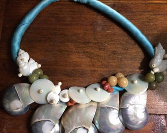 Vintage Seashell Coral Turquoise Silk Cord Necklace