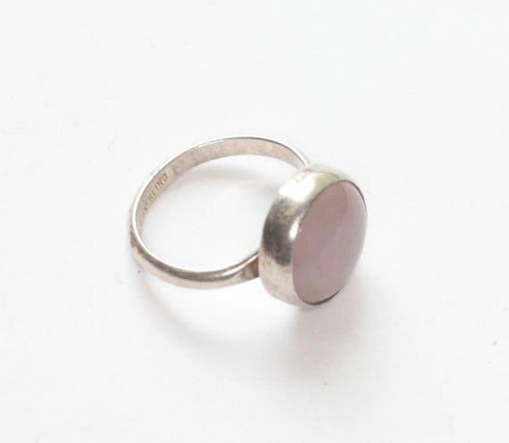 Pink Gemstone Sterling Silver Ring Modernist Design Size 6 Vintage