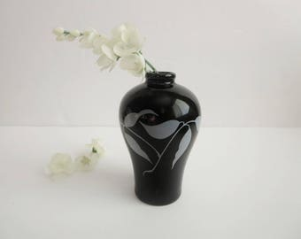Vintage Mini Bud Vase - Black Miniature Bud Vase - Koryo Dynasty Korea - Imperial Collection Korean Bud Vase - Gifts For Her