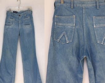 Vintage 70s Light Blue Denim Bell Bottom High Waisted Flared Jeans 28 x 33