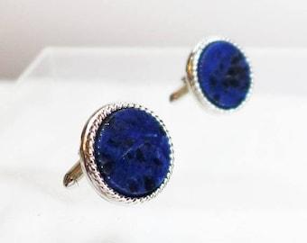 Sale 15% Stunning Blue Lapis Lazuli  Cuff Links Cufflinks Silver