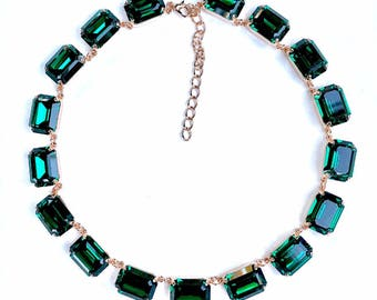 Swarovski Crystal Octagon Anna Wintour Style Necklace Emerald Green Rose Gold Finish, Big Stones Necklace, Rhinestone Necklace, 18x13mm