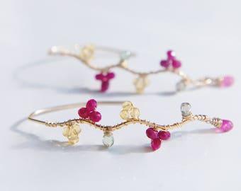 Ruby Citrine Earrings, Red Yellow Gemstones Earrings, Pink Sapphire, Delicate Earrings
