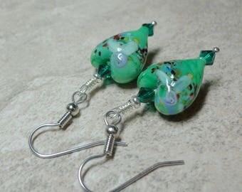 Green Heart Earrings, Lampwork earrings, Swarovski Crystal Earrings, Spiritcadesigns, FREE SHIPPING