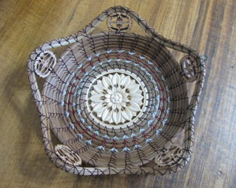 Flower Center Pine Needle Basket with Burgundy & White Accent Band