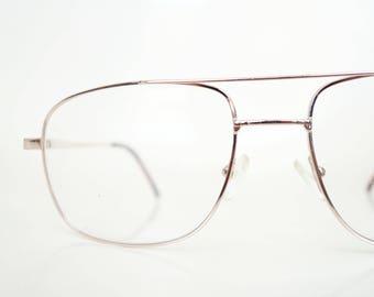 1980s Mens Gold Aviator Glasses Mid Century Modern Deadstock Guys Mad Men Chic Metallic 80s Retro Classic Wire Rim Sunglasses Hipster