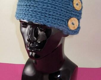 40% OFF SALE Instant Digital File pdf download knitting pattern - Super Chunky 1 Ball 2 Button Rib Headband knitting pattern