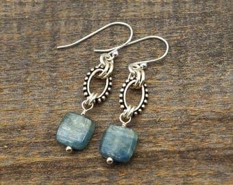 "Square blue kyanite earrings, semiprecious stone beads, silver French hooks, dangle, 1 7/8"" long"