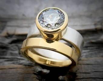 Engagement Ring 18K Gold & Sterling Handmade by Wild Prairie Silver Jewelry