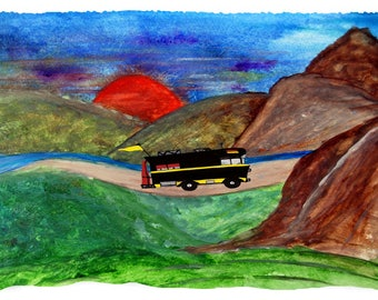 RV mountain camping by lake throw blanket from my original art.