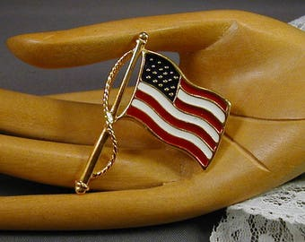 Premier Designs Enameled American Flag Brooch
