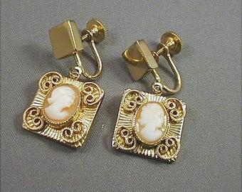 Vintage Coro Cameo Screwback Earrings