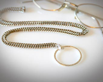 Elegant Eyeglass Necklace with Extra Large Eyeglass Loop. Antique Silver Eyeglass Chain