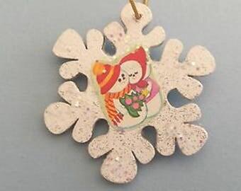 Vintage Snowmen Couple Glittered Wood Snowflake Ornament
