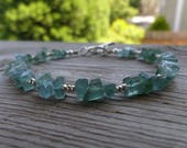 AMAZING All Blue Tourmaline Gemstone and Birthstone Fine Silver Bracelet