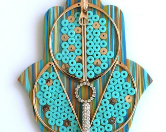 Oriental style Mixed Media Hamsa, Polymer Clay, Wall hanging, Home decor, turquoise and gold, Home blessing, Wall Hanging Décor