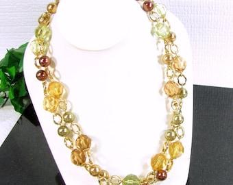 Vintage KJL Kenneth J Lane Necklace Multi Color Faceted Lucite Crystal Bead