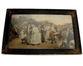 Antique VILLAGE WEDDING Lithograph/Print Sir Samuel Luke Feldes Bride & Groom Vintage