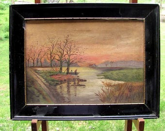 Antique FISHING BOATING SCENIC Oil Painting Dawn River Lake London Canvas Vintage