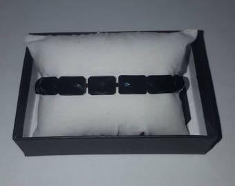 Handcrafted Vintage Black Glass Rectangle Beaded Bracelet