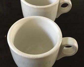 Pair of Sterling Vitrified China Ironstone Diner Coffee Mugs circa 1940s