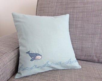 linen pillow cover, whale pillow, nautical decor, nursey decor, hand embroidered
