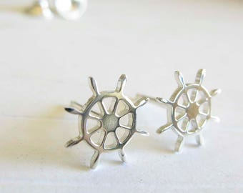 The Ship Wheel stud earrings. Sailing Boat jewelry. The helm boating jewelry. Steering Wheel for sailor. Sterling silver or 14k gold earring
