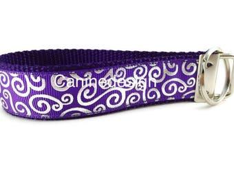 Purple Swirl Keychain, Key fob, Wristlet