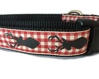Dog Collar, Plaid Reindeer, 1 inch wide, adjustable, quick release, metal buckle, martingale, chain, hybrid, custom