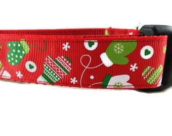 Christmas Dog Collar and Leash, Mittens, 6ft lead, 1 inch wide, adjustable, quick release, metal buckle, chain, martingale, hybrid
