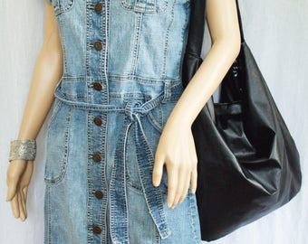 Black Faux Leather Handbag, shiny black slouchy hobo shoulder bag, large black everyday sling bag with anchor print interior