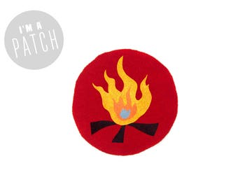 Campfire Patch - Hand Printed Patch, Alternative Merit Badge, Sew On Patch in True Red and Yellow Fire