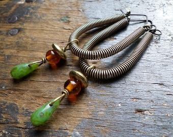 Bronze Coil & Vintage Glass Hoop Earrings, Orange Green Ethnic Tribal Boho Sculptural Urban Hoops, Handmade Artisan Drop Dangle Earrings