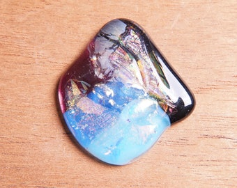Dichroic Fused Glass Focal Cab Bead Pendant Necklace ...JuMbO...