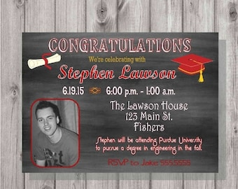 ON SALE Digital Chalkboard Graduation Open House Invitation Printable ANY Color