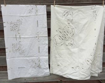 Vintage lot 2 Tablecloths Linen Cutwork with Floral Embroidery 58x78 and 45x47""