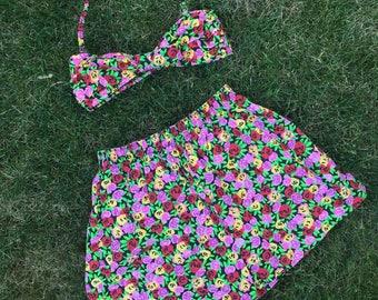 1980s/90s kelly kapowski floral 2 piece lined size 2-4