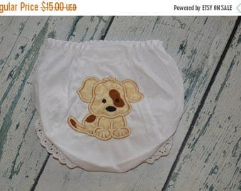 ON SALE Personalized Puppy Bloomer Girls Diaper Cover Monogrammed Baby Bloomers