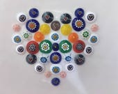 Millefiori Dish, Heart Love Valentine, Fused Glass Flowers, Genuine Italian/Murano Glass