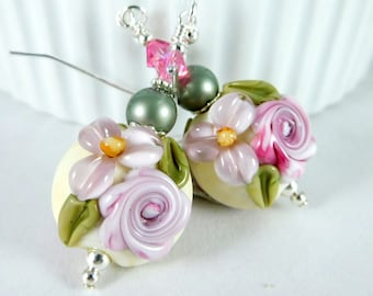 Pastel Floral Earrings Romantic Jewelry Pink Lavender Purple Lampwork Earrings Pink Rose Jewelry Nature Inspired Cottage Chic