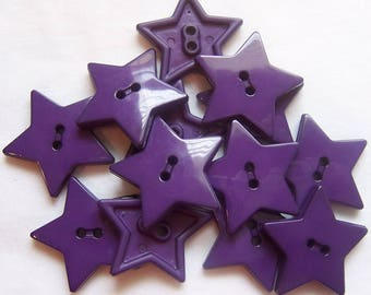 Purple Star Buttons - 1 inch ~ YOU PICK QUANTITY - 5 thru 125 - See Shop Announcement for 60% off code