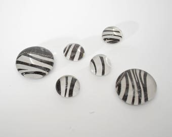 zebra print magnet or push pin set - made from recycled magazines, stocking stuffer, hostess gift, graduation