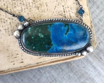 Azurite Necklace, Malachite Necklace, Azurite Makachite Necklace, Sterling Silver Necklace, Metalwork Pendant, Gift for Women,